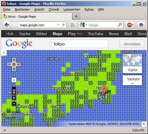 8bit googlemaps dragonquest style